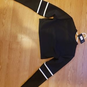Black Scuba Crop Top w/ White Piping